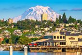 Tacoma, Washington, USA with Mt. Rainier in the distance on Commencement Bay. poster