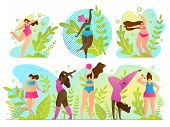 Set Exercise In Fresh Air Vector Illustration. Outdoor Activities Or Vacation. Girls Train And Keep  poster