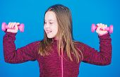 Feeling Energy Inside. Happy Child With Barbell. Fitness For Energy Health. Workout Of Small Girl Ho poster