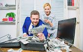 Financial Success. Man Businessman And Woman Secretary With Pile Dollar Banknotes. Profit And Richne poster