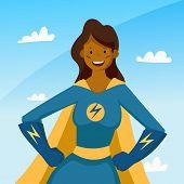 African American Super Hero Woman Cartoon Pose. Pretty Female Super Woman Avatar. Vector Stock. poster