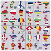 A Collection Of Flags For The European Countries. Each Flag Has The Shape Of The Country.european Co poster