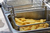 French Fries Cooking. Closeup View Of Making French Fries Deep Frying In An Equipment In Fast Food.  poster