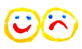 image of sad face  - Painted smile over white - JPG