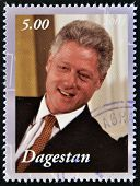 A stamp printed in Republic of Dagestan shows Bill Clinton
