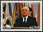 KOMI - CIRCA 1999: A stamp printed in Komi shows Mikhail Gorbachev circa 1999