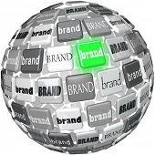 A sphere or ball containing many different brands, with one glowing green to represent the best or top choice in a crowded market of similar products competing for your business poster