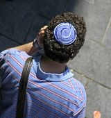 picture of tora  - man wearing jewish kippa jerusalem in israel