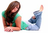 Sweet Brunette Laying Down poster