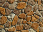 foto of fieldstone-wall  - stone wall still under construction - JPG