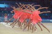 KIEV, UKRAINE - SEPTEMBER 1: Young gymnasts performs the routing during closing ceremony of the 32nd