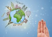 Cheerful happy smiling fingers with famous landmarks of the globe poster