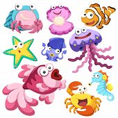 stock photo of hermit  - cartoon sea animals collection with white background - JPG