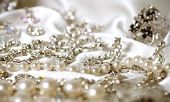 stock photo of brooch  - Beautiful jewelry costume jewelry made of white metal - JPG