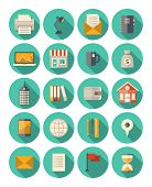 image of modern building  - Vector set of colorful icons in modern flat design style with long shadow effect on business and finance theme - JPG