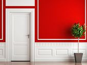 stock photo of interior  - interior design of classic room in red and white colors with plant - JPG