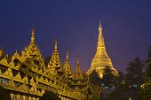 stock photo of yangon  - Golden Pagoda Paya Temple shining at night in Yangon - JPG
