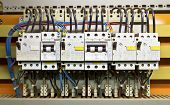 stock photo of busbar  - Control panel with circuit - JPG