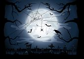stock photo of cobweb  - Scary Halloween night background with Moon - JPG