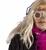 picture of hermaphrodite  - Man with blonde wig and fuchsia boa - JPG