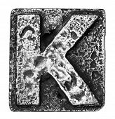 Metal alloy alphabet letter K