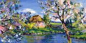 image of realism  - spring motif painting landscape in lower saxony  - JPG