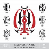 image of initials  - Vintage monogram set - JPG