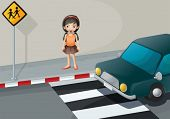 pic of kinetic  - Illustration of a girl near the pedestrian lane with a car - JPG