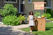 pic of pitcher  - portrait of a little girl with lemonade stand - JPG