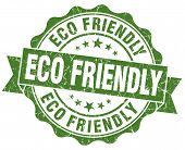 image of environmentally friendly  - Eco Friendly Grunge green Stamp on white background - JPG