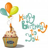 pic of fancy cake  - Birthday greeting card with cupcake and balloons - JPG