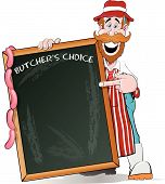 foto of charcuterie  - illustration of a very happy Butcher standing by his huge sign ready to write down all his delicious meat products that he sells in his Butchers Shop - JPG