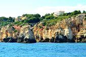 picture of vilamoura  - Cliffs Baleeira Albufeira in the Algarve Portugal - JPG
