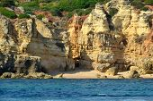 stock photo of vilamoura  - Cliffs Baleeira Albufeira in the Algarve Portugal - JPG