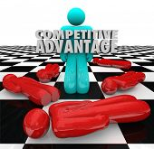 One person stands as the winner with words Competitive Advantage to illustrate superior qualities an