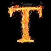 stock photo of letter t  - Letters and symbols in fire  - JPG