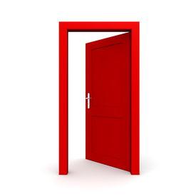 pic of front door  - single red door open  - JPG