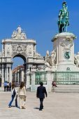 Lisbon, Portugal - April  14, 2013: Commerce Square with the iconic Triumphal Arch and King Dom Jose