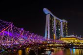 image of singapore night  - Nightscape of Singapore Marina Bay Sand - JPG