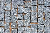 Granite Cobblestone Pavement Texture Background, Large Detailed Horizontal Stone Block Paving, Rough