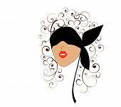 stock photo of titillation  - stylized picture of woman with curls in blindfold - JPG