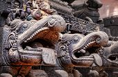 stock photo of chariot  - Carved mythological animals on wooden chariot in Gokarna town Karnataka India - JPG