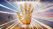 foto of radiation therapy  - A metaphorical background showing energies radiating from the hand of a spiritual healer - JPG