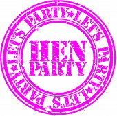 Grunge hen party rubber stamp, vector illustration