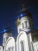 picture of zakarpattia  - Domes of the new orthodox church against the dark blue sky - JPG