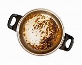 picture of dingy  - Dirty cooking pot on a white background - JPG