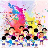 picture of holi  - Kids splashing and playing with colors on the eve of holi - JPG