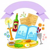 stock photo of matzah  - items related to Passover with a decorative blank banner - JPG