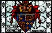 image of stained glass  - Detail of historic heraldic stained glass window - JPG