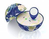 picture of courtesy  - one earth globe divided into two parts with a gps map and pin - JPG